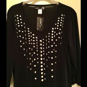 Black Slinky Studded Top
