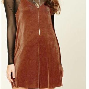 PLEATED BROWN SLIP DRESS