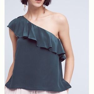 NWT Anthropologie Maeve Green One Shoulder Top