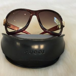 Gucci Accessories - Gucci Purple Sunglasses Gold & Rhinestone Details