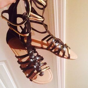Shoes - Black & Gold Gladiator Sandals