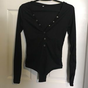 Other - Sexy long sleeve button up black body suit