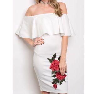 Dresses & Skirts - New Ivory Embroidered Rose Off Shoulder Midi Dress
