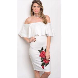New Ivory Embroidered Rose Off Shoulder Midi Dress