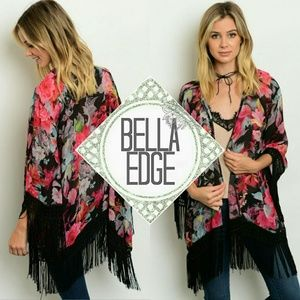 Bella Edge Jackets & Blazers - Floral black fringe oriental kimono
