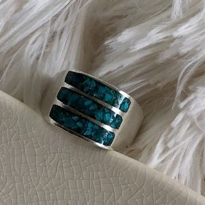 Vintage Other - Vintage Crushed Turquoise .925 Silver Ring