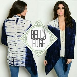 Bella Edge Sweaters - 🆕 Navy white  tie dye cardigan