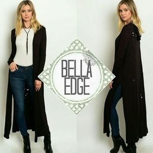 Bella Edge  Sweaters - 🆕 Black distressed hooded long duster cardigan