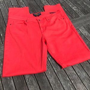 "Lucky Brand Charlie Skinny Coral Jeans 14 32"""
