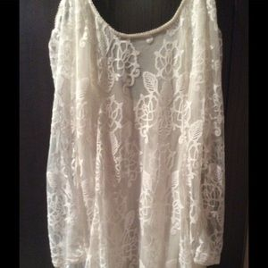 Free People cold shoulder lace top