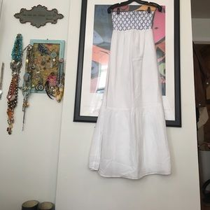 LOFT Dresses & Skirts - White and blue smocked top maxi