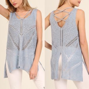 MAC sleeveless cross back top - SKY BLUE