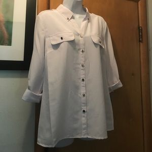 NY Collection Tops - NWT MACYS NY COLLECTION WHITE SHIRT WITH SILVER!!!
