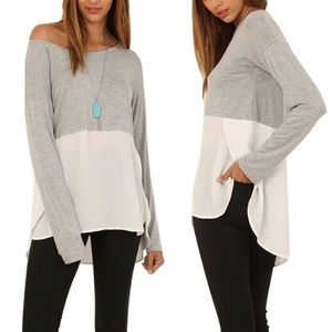fairlygirly Tops - Jersey and Chiffon Split Sides High Low Blouse