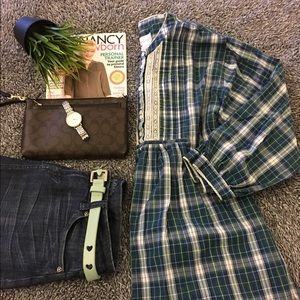 adonna Tops - Plaid, maternity tunic with lace & pleat detail!