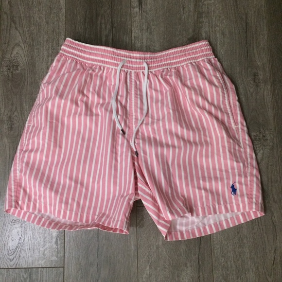5615210c9eda0 Men's polo pink and white striped swim trunks M. M_58f66e44f09282bd1601ff5f