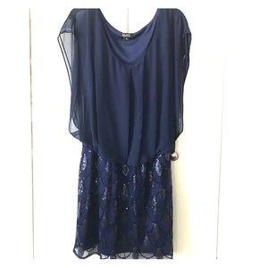 SL Fashions Dresses & Skirts - Navy Blue/Sequined Bottom Dress by SLNY