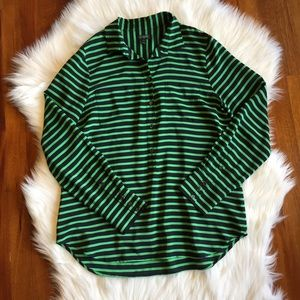 J. Crew Factory Tops - J. Crew Factory Striped Silk Popover Blouse