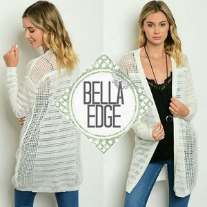 Bella Edge  Sweaters - 🆕White perforated netted open front cardigan