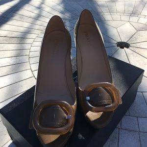 Shoes - 🔥Sale Prada Blond Patent Peep-toe Platforms 37.5