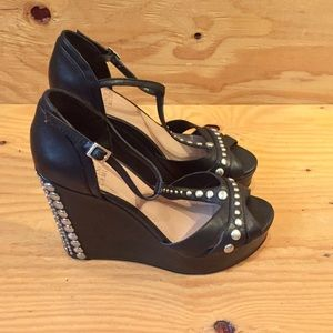 Black Studded Wedge Heels By Vince Canute SZ 9
