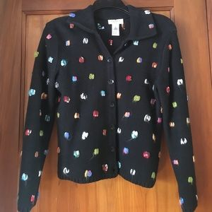 Talbots Black with multi-color dots sweater.