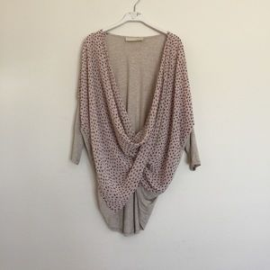 Anthropologie Tops - Beige pink draping leaf print wrap blouse small