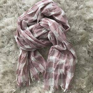Pink & White Checkered Fringed J.Crew scarf