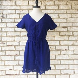 Navy eyelet lace embroidered romper