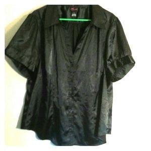 torrid Tops - Shiny black button down V neck Top