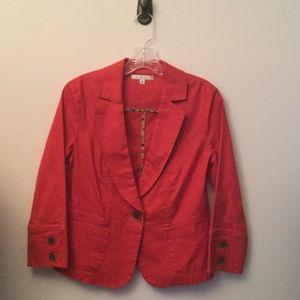 CAbi Jackets & Blazers - CAbi  COTTON BLAZER SIZE 4.RED w/ brown buttons💄