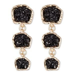 bauble bar Jewelry - NWT Druzy inspired gold & black earrings