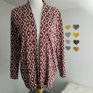 H&M Red and White Aztec Open Cardigan Medium