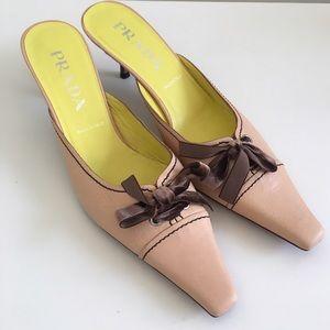 Prada Shoes - NEW Prada Slip On Leather Lace Up Bow Heels 9.5