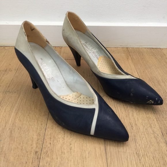 Raffi Shoes Navy Blue White Leather