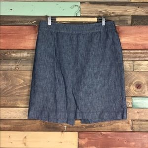 Talbots Denim Cotton/ Hemp Pencil Skirt 14P