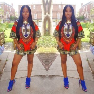 Tops - Orange Dashiki