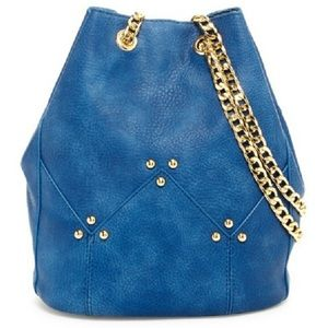 Maisie Blue Bucket Bag with gold hardware