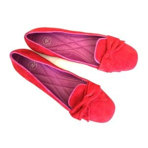 Johnston & Murphy Shoes - Johnston & Murphy red suede Riley Bow flats 7