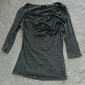 Anthropologie Tops - Deletta for Anthropologie gray top with bow