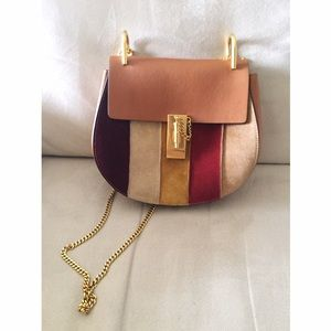 Chloe Handbags - Authentic Drew Small Striped Suede & Leather Bag