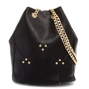 SALE Maisie Black bucket bag with Gold hardware