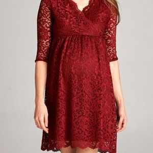 Hello MIZ Dresses & Skirts - Elbow Sleeve Floral Scallop Lace Maternity Dress