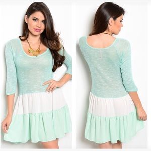 Dresses & Skirts - NEW green Ivory striped knit dress