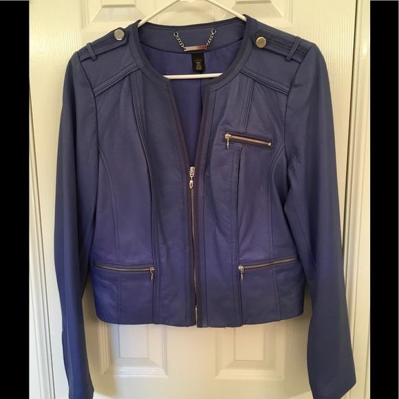 6efce54c1 WHBM cornflower blue LEATHER jacket. M 58f693ddeaf030eeb817b604