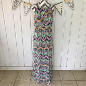 Soho Apparel Dresses & Skirts - Multi Colored Chevron Stripe Keyhole Maxi Dress