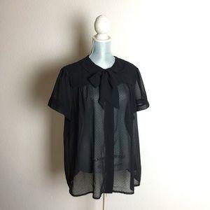 ASOS Curve Tops - ASOS curve textured ditsy dot sheer blouse