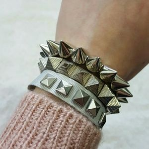 Jewelry - 3 Silver Stud Bracelets