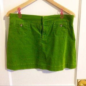 Lilly Pulitzer green corduroy mini skirt