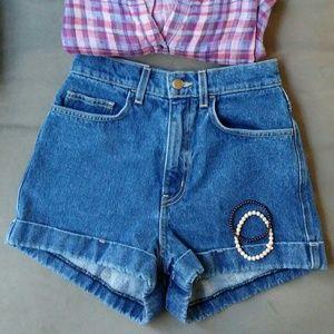High Waist Jean Shorts